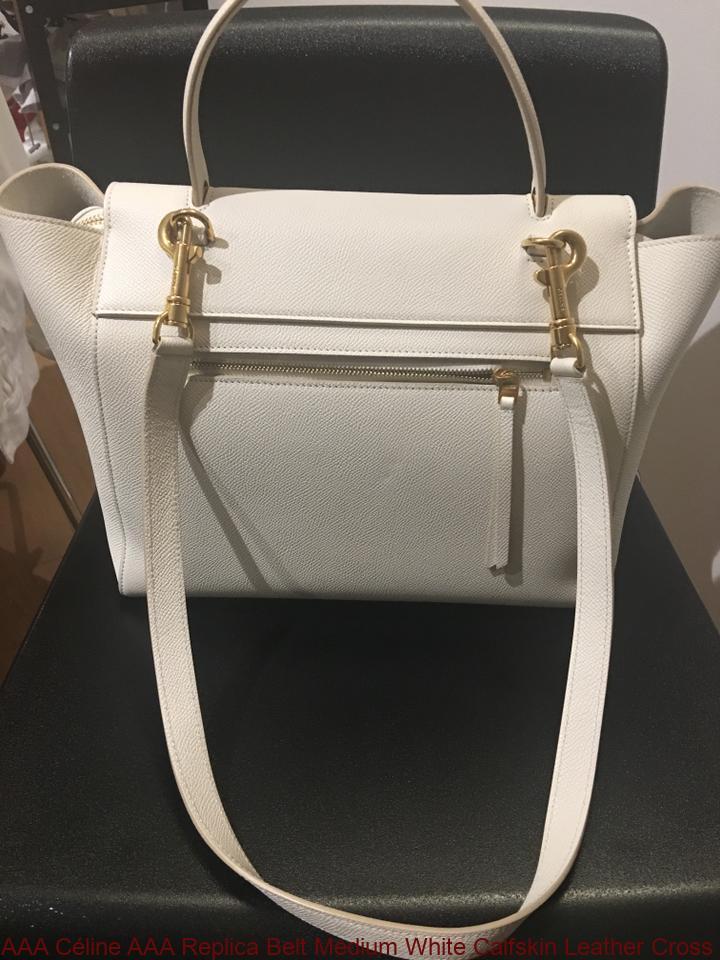 e06aefe72630 AAA Céline AAA Replica Belt Medium White Calfskin Leather Cross Body Bag  luxury 7 star replica handbags