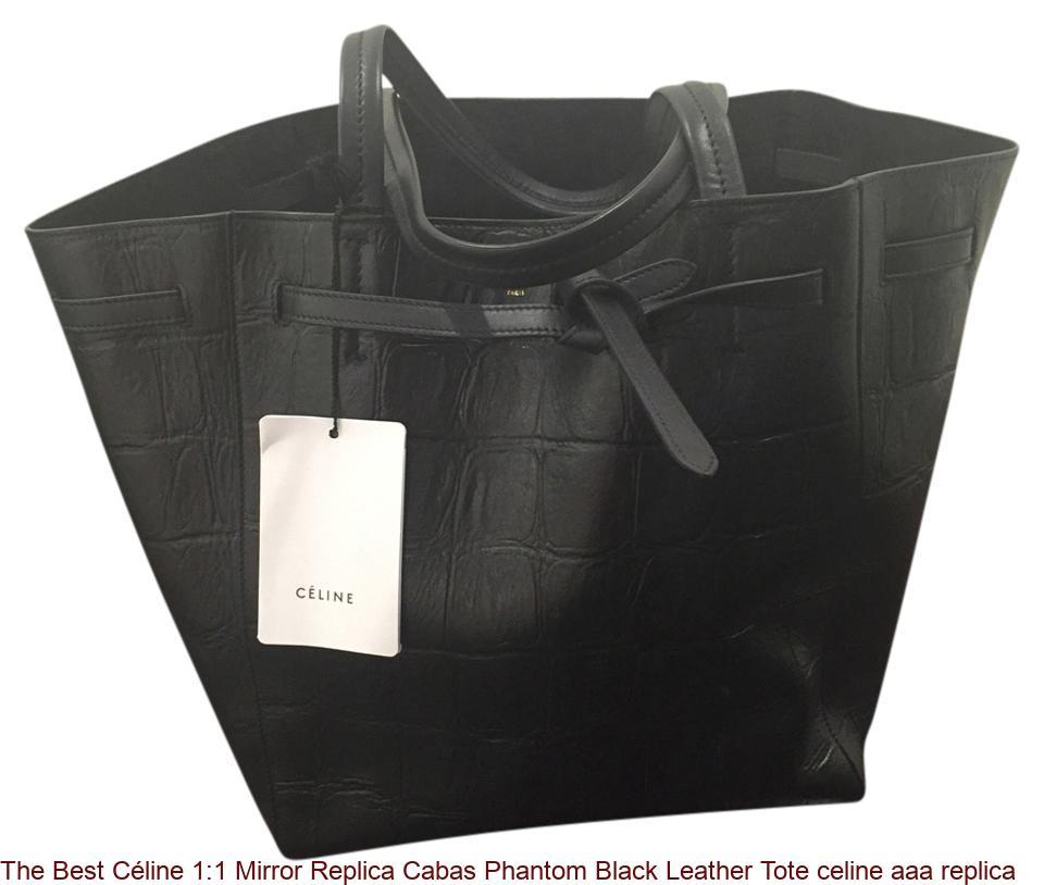The Best Céline 1 1 Mirror Replica Cabas Phantom Black Leather Tote celine  aaa replica feb7e16f0d4e9