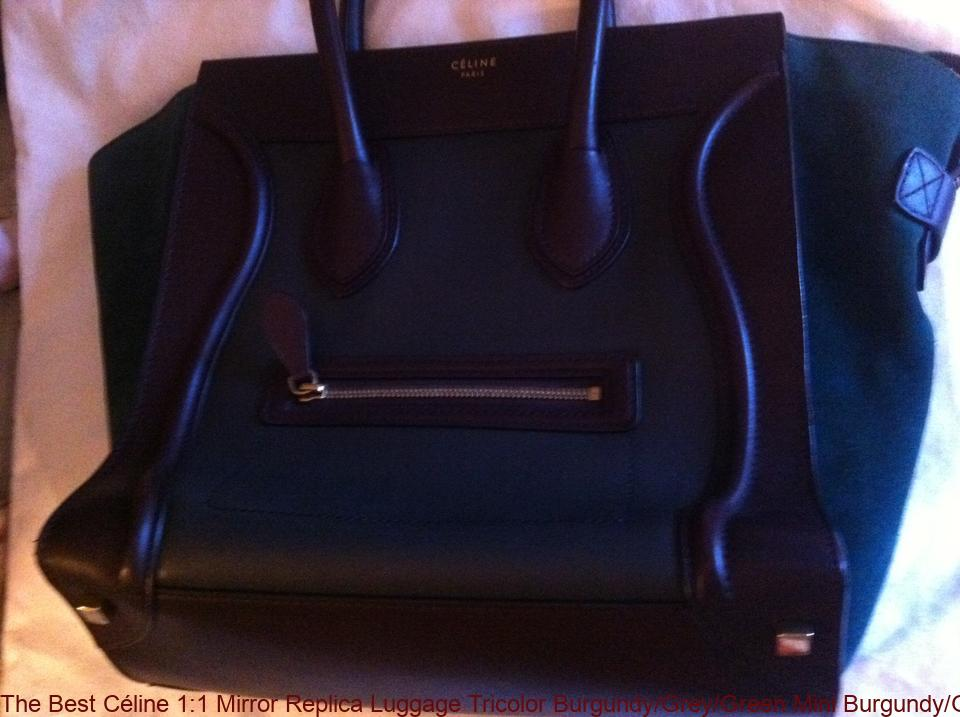 814b94fc3a4e The Best Céline 1 1 Mirror Replica Luggage Tricolor Burgundy Grey Green  Mini Burgundy Grey Green Leather Satchel celine replica nano bag