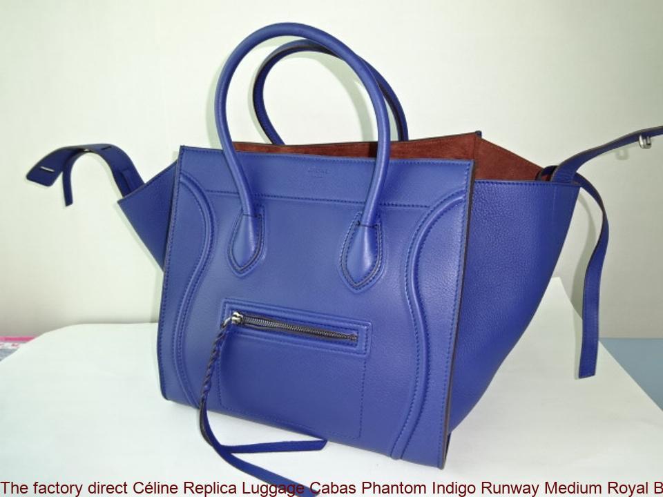 e9984b0170 The factory direct Céline Replica Luggage Cabas Phantom Indigo Runway  Medium Royal Blue Leather Tote celine replica big bag