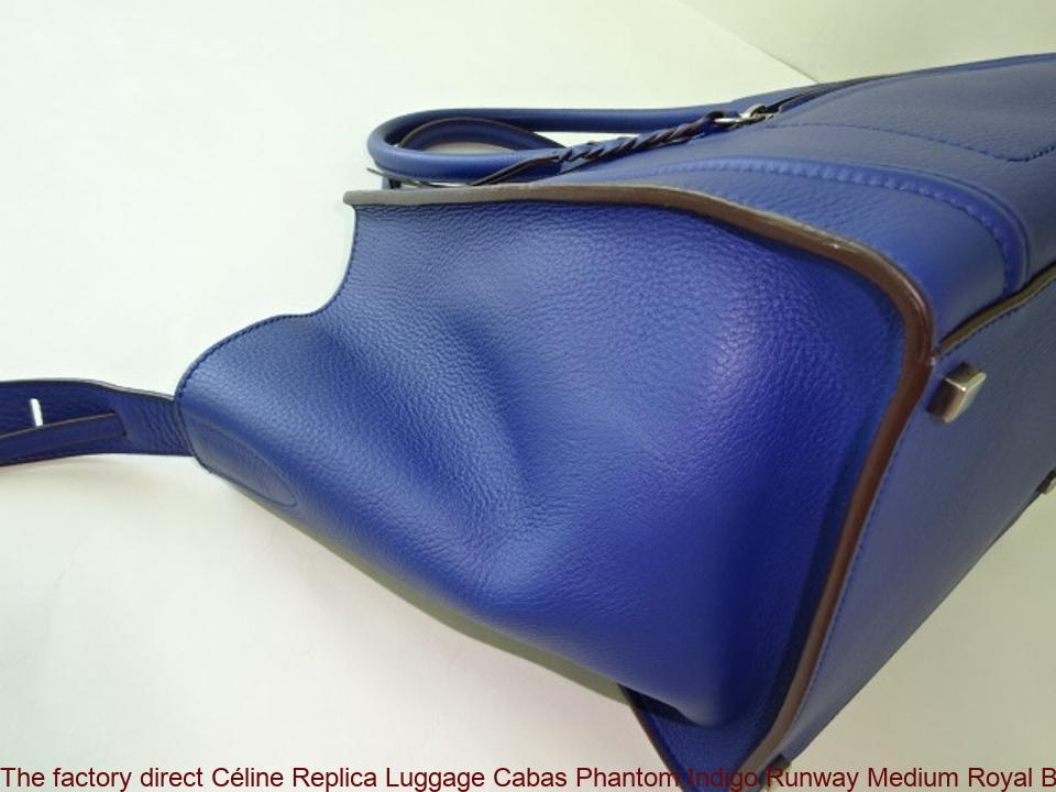 9a6551d9139b The factory direct Céline Replica Luggage Cabas Phantom Indigo Runway  Medium Royal Blue Leather Tote celine replica big bag