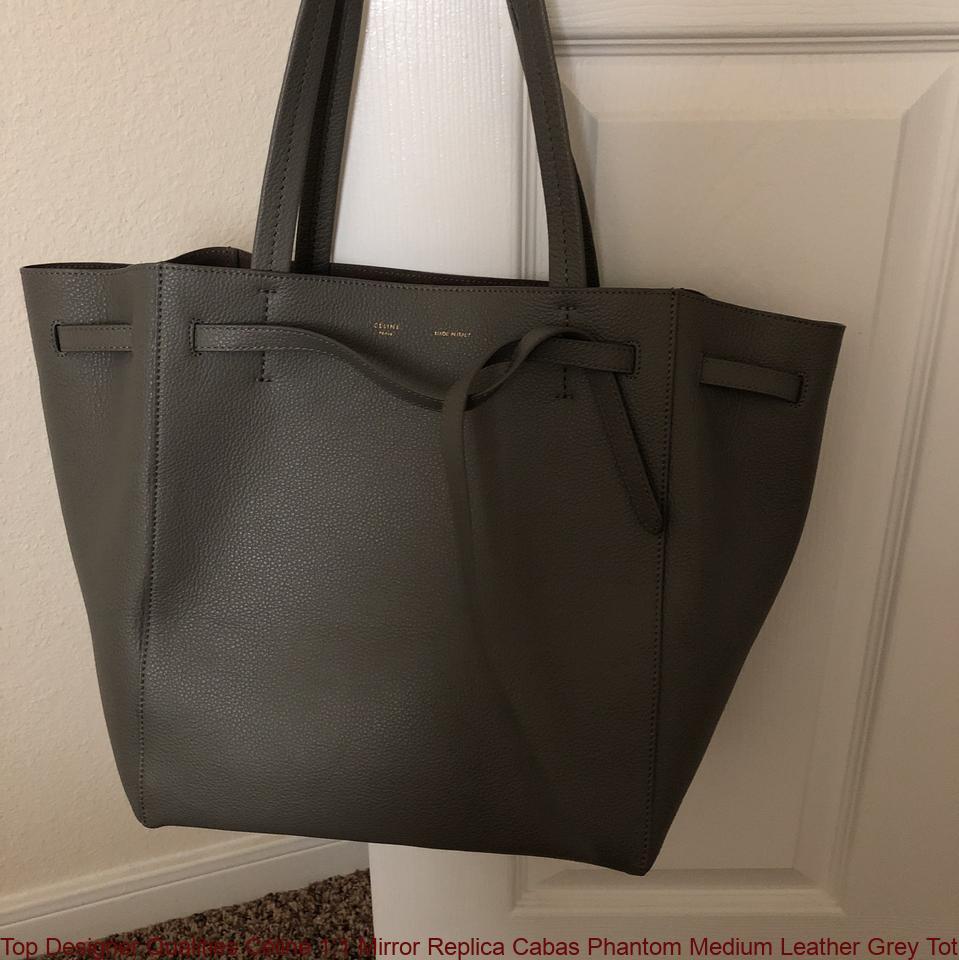 Top Designer Qualities Céline 1 1 Mirror Replica Cabas Phantom Medium  Leather Grey Tote handbags replica 9a3b1510e9ec4