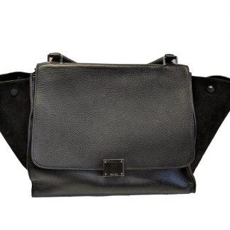 5498165f001e Top Designer Qualities Céline Designer Replica Trapeze Medium Handbag Black  Leather Suede Satchel how to spot fake celine box bag